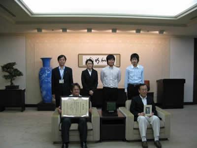 写真:まちづくり功労者として国土交通大臣表彰・広島市長室訪問
