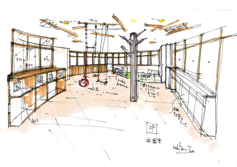 2012年5月22日 rurban 建築スケッチ コメントを残す  福祉施設 遊戯室 内装イメー